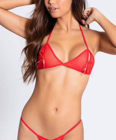 Xanded Fantezi Kırmızı Seksi Tül Sütyen Kilot Takım İç Giyim