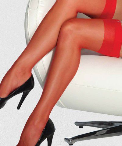 Xanded Fantezi Düz Kırmızı Jartiyer Çorabı