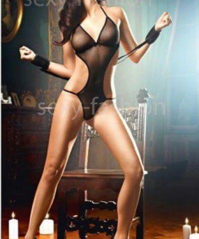 Xanded Fantazi Siyah Maskeli Kelepçeli seksi Gecelik İç Giyim