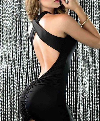 dekolteli siyah elbise