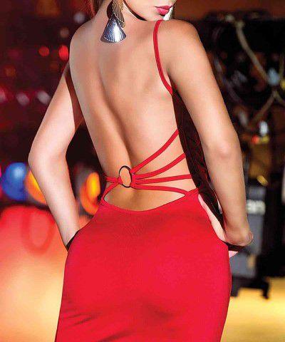 fantezi kırmızı dekolteli mini elbise