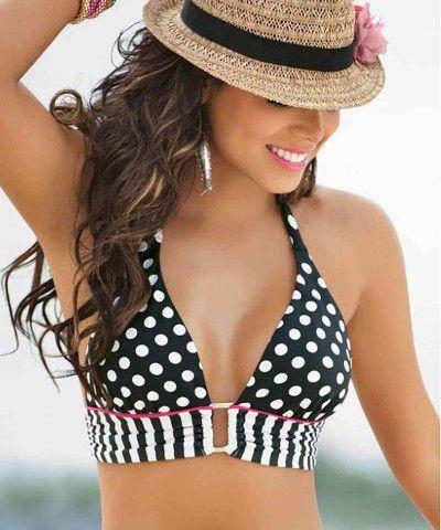 siyah beyaz desenli bikini
