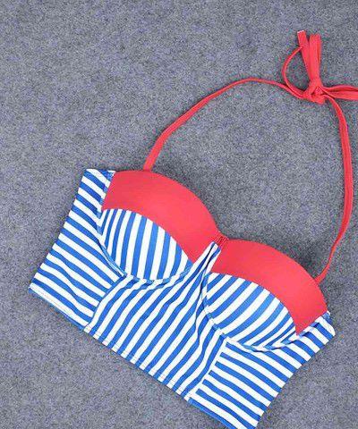 çizgili bikini takımı mavi