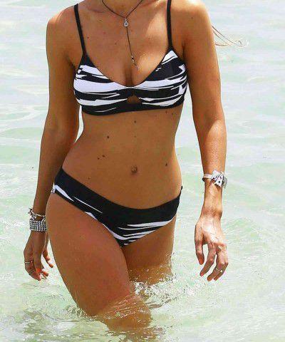 zebra desenli bikini takımı