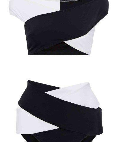 çapraz desenli siyah beyaz bikini