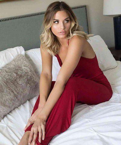 kırmızı dantel işlemeli pijama