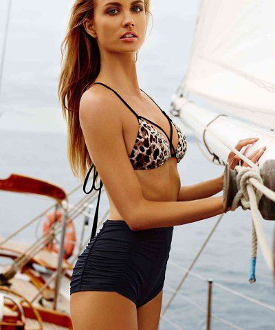 leopar desenli bikini üstü