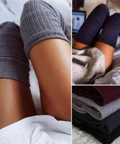 diz üstü gri çorap