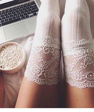 dantel işlemeli jartiyer çorabı
