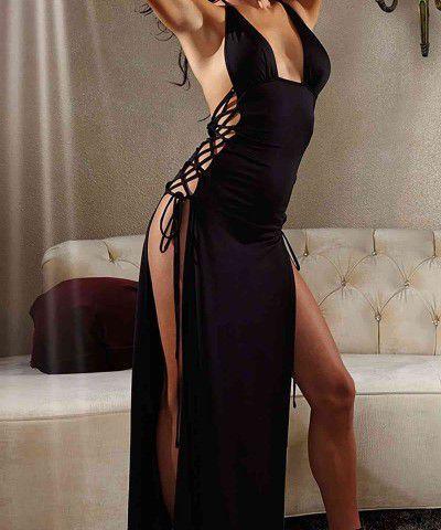 uzun saten seksi elbise