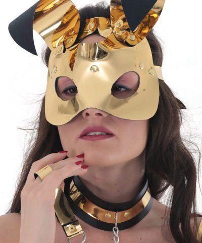 gold renk tavşan maskesi