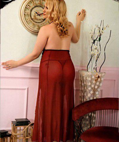 Xanded Dantelli Kırmızı Siyah Büyük Beden Fantezi Gecelik Seti 8007