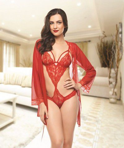 Xanded Dantelli Kırmızı Fantezi Gecelik Seti İç Giyim 7004
